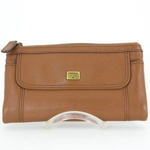 FOSSIL Wallet Leather Emma Clutch Saddle NWT Flaws